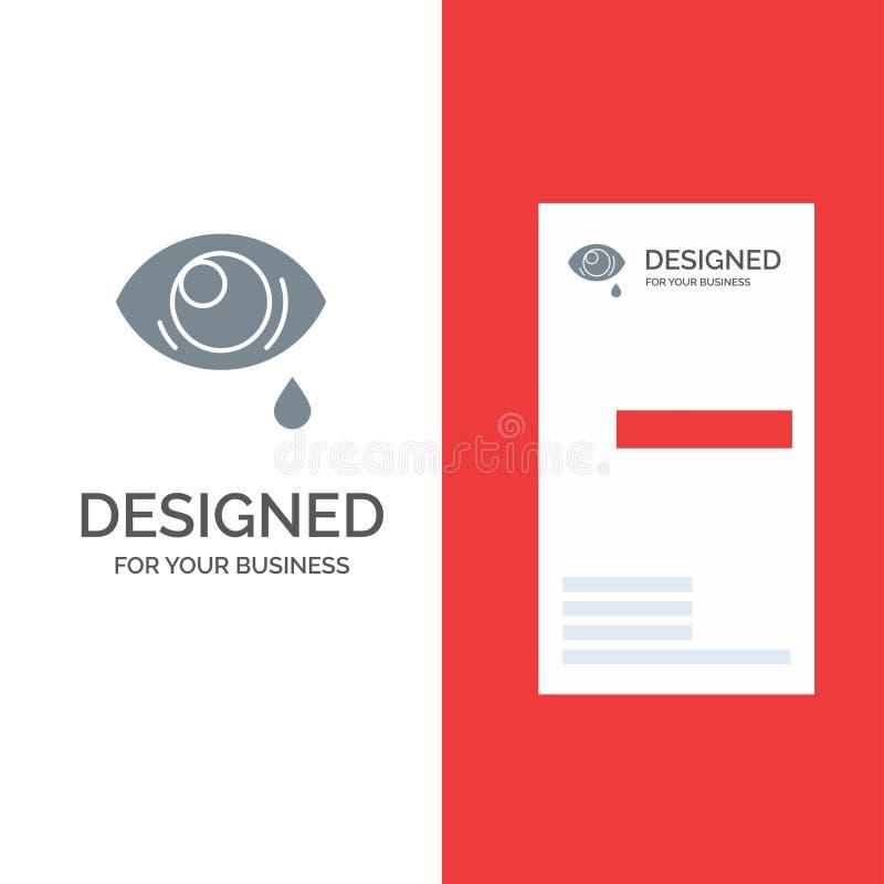 Oko, obwiśnięcie, oko, Smutny Popielaty logo projekt i wizytówka szablon, ilustracji