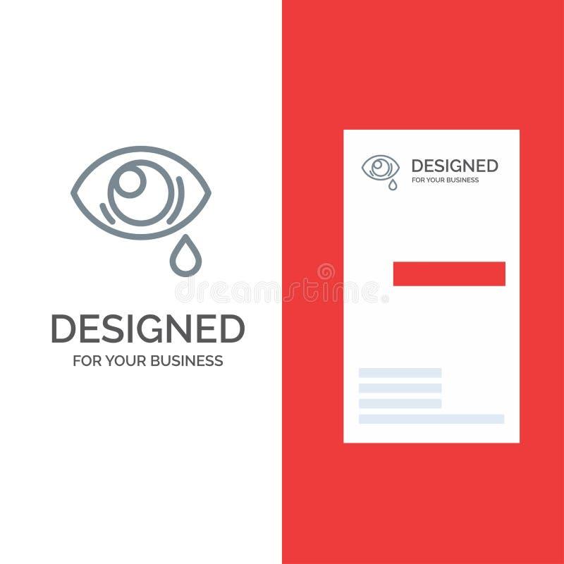 Oko, obwiśnięcie, oko, Smutny Popielaty logo projekt i wizytówka szablon, royalty ilustracja