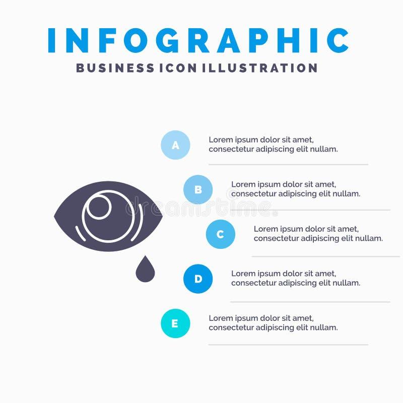 Oko, obwiśnięcie, oko, Smutny Stały ikony Infographics 5 kroków prezentacji tło ilustracja wektor