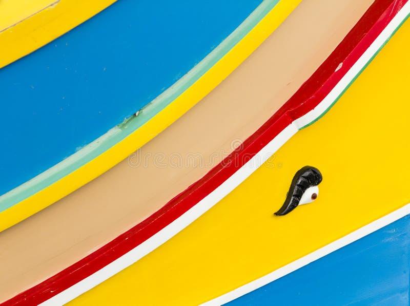 Oko Osiris na Maltańskiej łodzi rybackiej zdjęcie royalty free