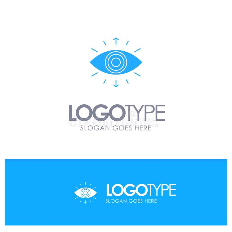 Oko, symbol, Tajny społeczeństwo, członek, Błękitny Stały logo z miejscem dla tagline ilustracja wektor