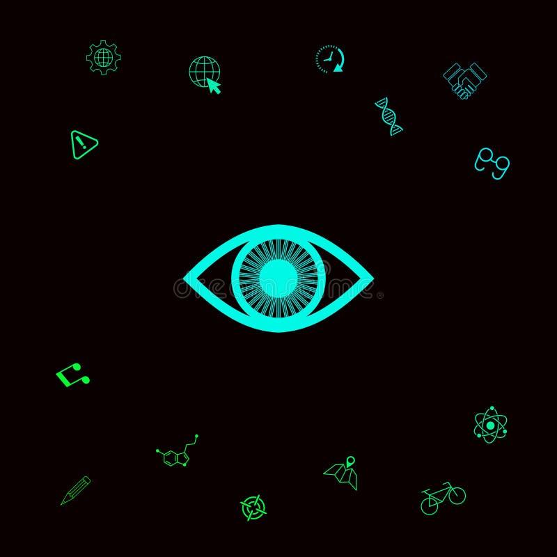 Oko symbolu ikona z irysem Graficzni elementy dla twój designt royalty ilustracja