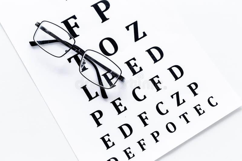 Oko test, oko egzamin Szkła z przejrzystymi okulistycznymi obiektywami na oko próbnej mapie na białego tła odgórnym widoku zdjęcie royalty free