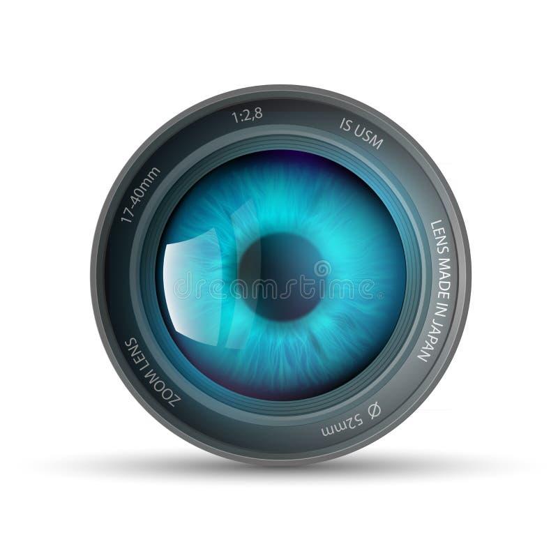 Oko wśrodku kamera obiektywu ilustracja wektor