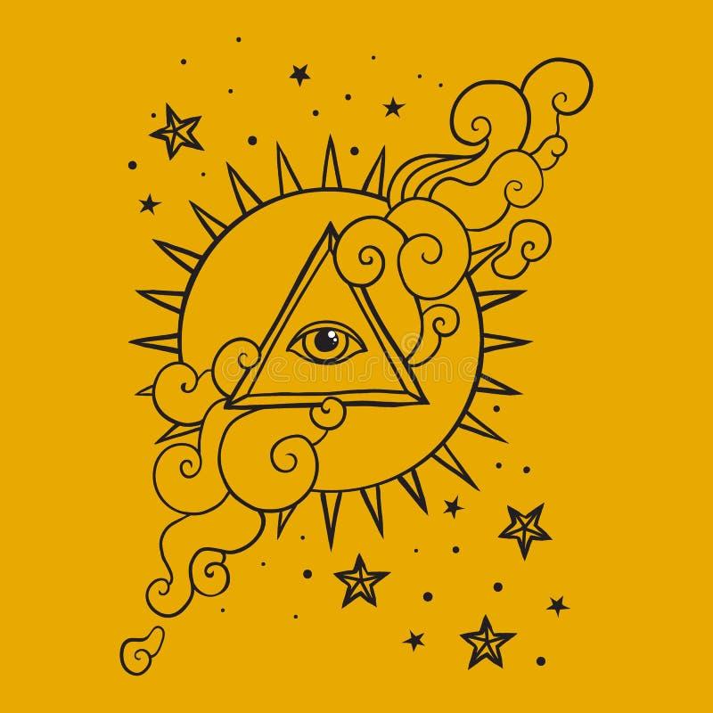 Oko w ostrosłupie z słońcem i gwiazdami royalty ilustracja
