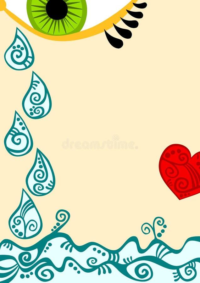 Oko z łzy sercem i kroplami ilustracji