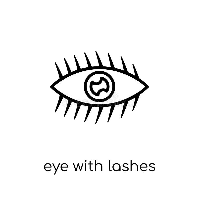 Oko z bat ikoną Modny nowożytny płaski liniowy wektorowy oko z ilustracji