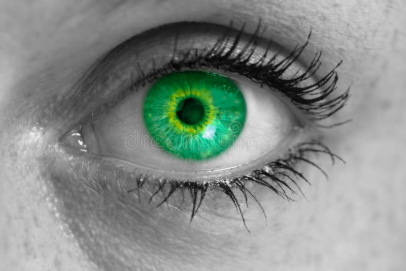 Oko z zielonymi irysów spojrzeniami przy widza pojęciem Makro- zdjęcie stock