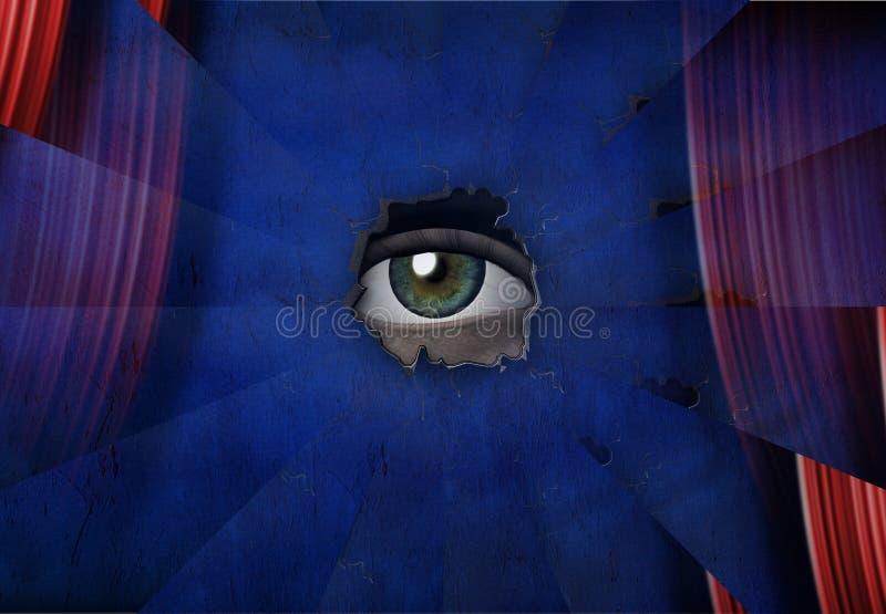 Oko za błękit ścianą ilustracja wektor