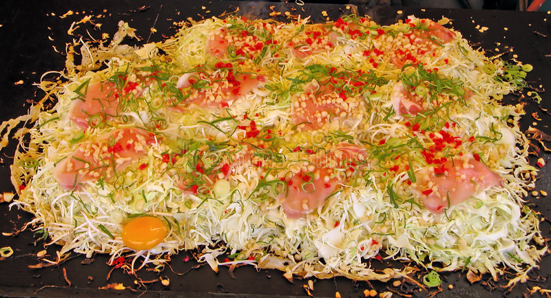 Okonomiaky-traditional Japanese food stock images