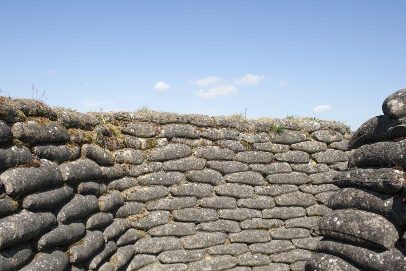 Okopy śmiertelny WW1 Flanders worek z piaskiem odpowiadają Belgia zdjęcie stock