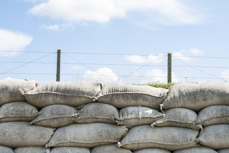 Okopy śmiertelny WW1 Flanders worek z piaskiem odpowiadają Belgia zdjęcie royalty free