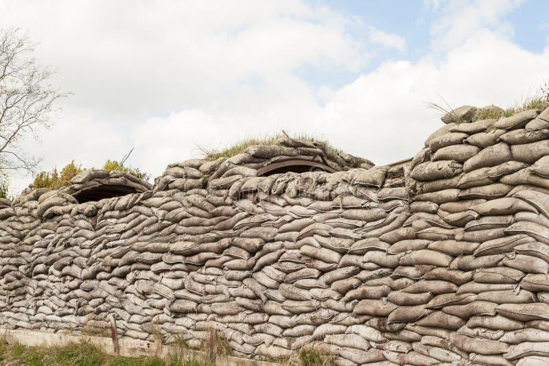 Okopy śmiertelny WW1 Flanders worek z piaskiem odpowiadają Belgia obraz stock