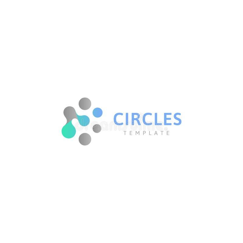 Okrąża abstrakcjonistycznego loga szablon Związane kropki, kreatywnie projekta konceptualny logotyp Innowacja znak dla chemii ilustracji