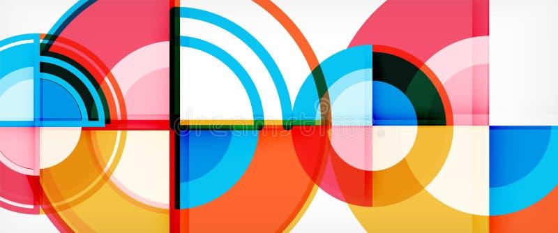 Okrąża abstrakcjonistycznego tło, jaskrawego kolorowego round geometryczni kształty ilustracja wektor