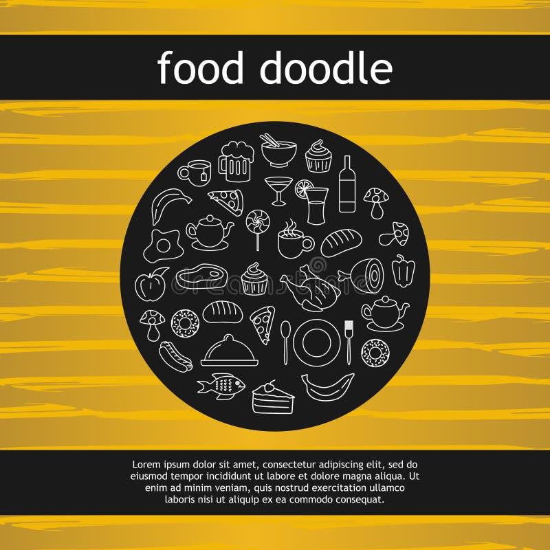 Okrąża doodle jedzenia i napoju rysunkowy wektorowy ilustracyjny tło ilustracji
