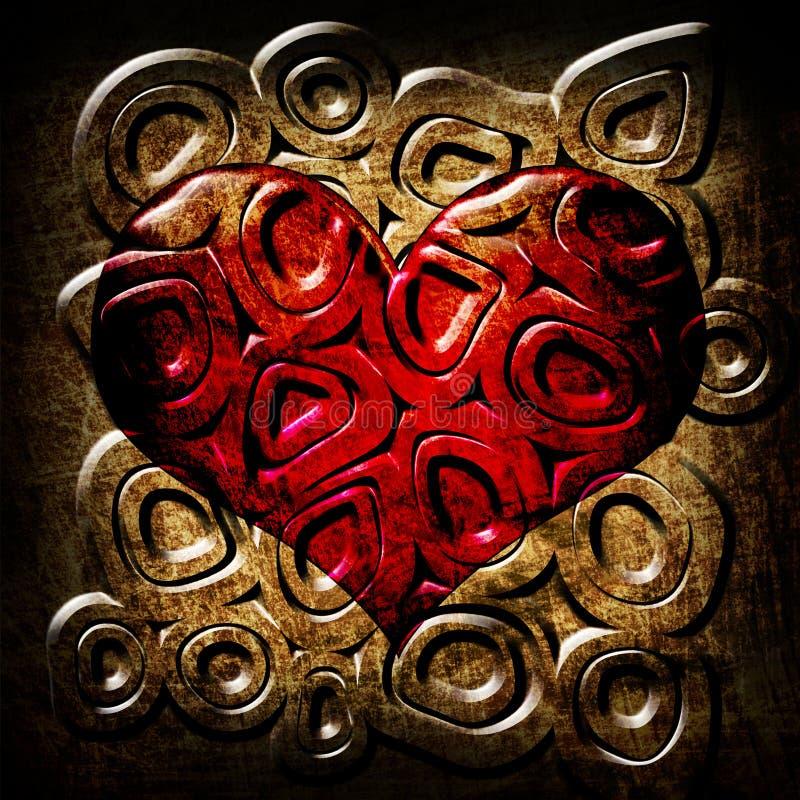 okrąża grunge serca czerwień ilustracja wektor
