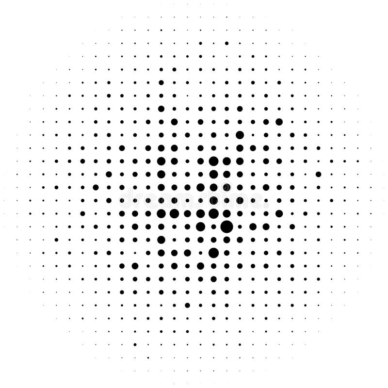 Okrąża halftone element, monochromatyczna abstrakcjonistyczna grafika dla DTP, pr ilustracja wektor