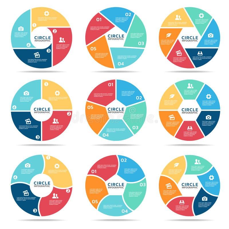 Okrąża infographic wektoru ustalonego projekt (część cztery, część Pięć i część sześć,) ilustracji