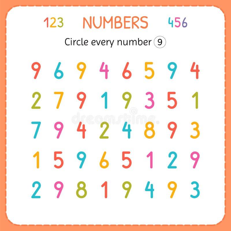 Okrąża każdy numerowi Dziewięć Liczby Dla dzieciaków Worksheet dla dziecina i preschool Trenować pisać liczbach i liczyć exercis royalty ilustracja