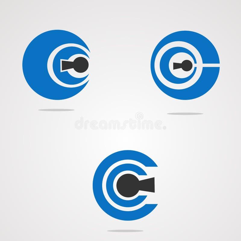 Okrąża klucz ustawiającego z bezpiecznie pojęcie logo wektorowym pojęciem, elementem, ikoną i szablonem dla firmy, ilustracji