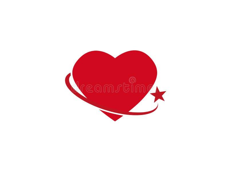 Okrąża mienia serce z gwiazdą dla logo royalty ilustracja