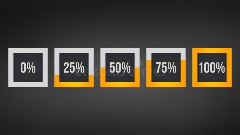 okrąża odsetek, występ analiza w procencie, kwadratowa liczba 0,25,50,75,100, infographic odosobniony na czarnym tle ilustracji