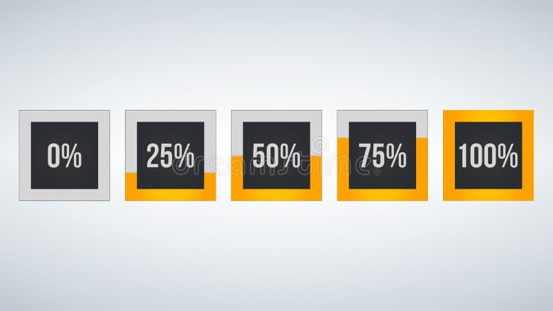 okrąża odsetek, występ analiza w procencie, kwadratowa liczba 0,25,50,75,100, infographic odosobniony na czarnym tle ilustracja wektor