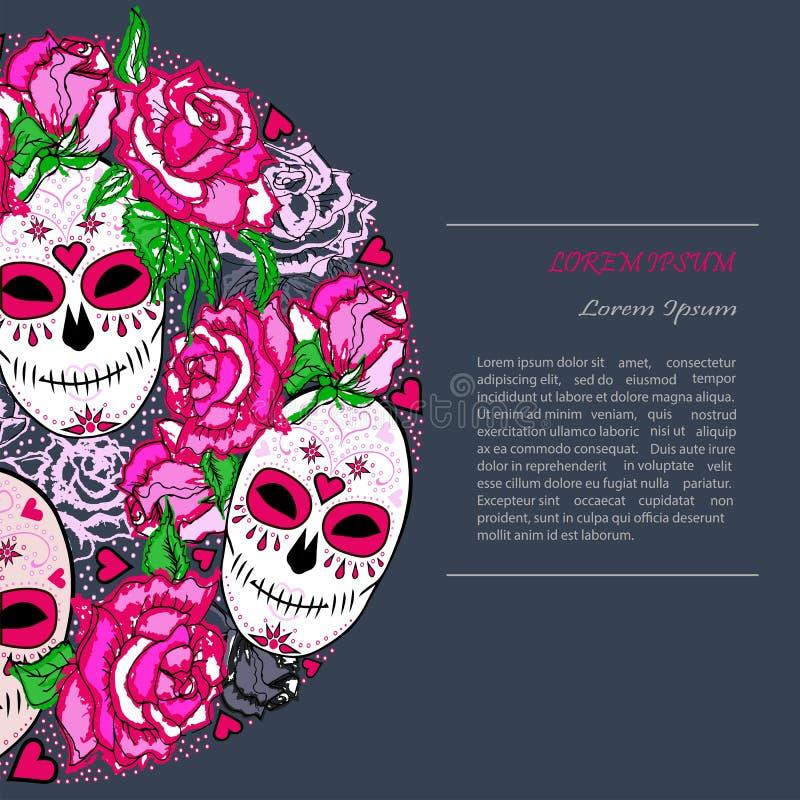Okrąża pojęcie z Cukrową czaszką i różowi róże ilustracja wektor