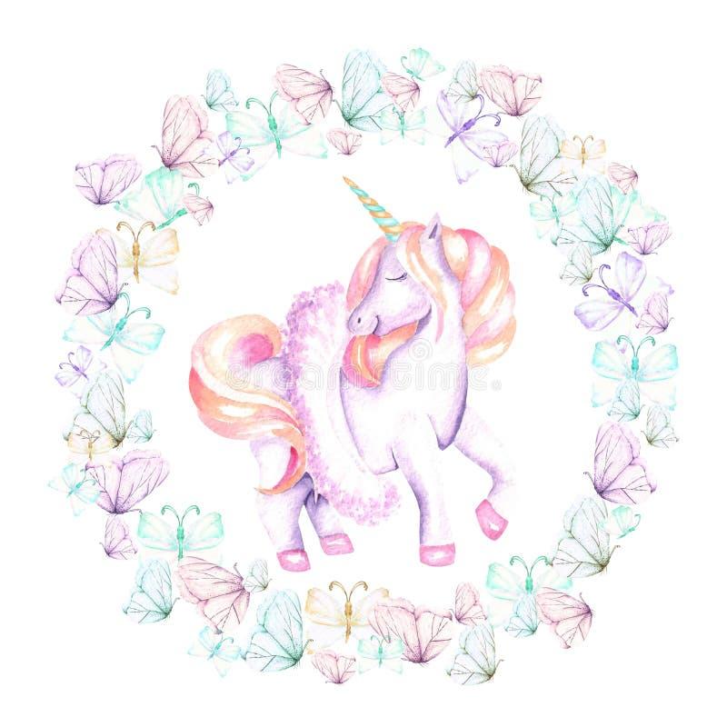 Okrąża ramę i różowi jednorożec, wianek z akwareli oferty motylami royalty ilustracja