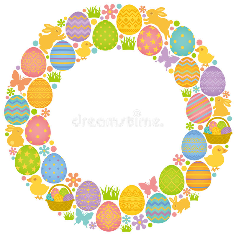 Okrąża ramę z Wielkanocnymi jajkami, królikami i kurczątkami, royalty ilustracja