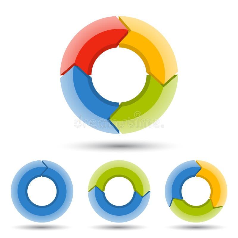 Okrąża strzała 3D infographic, cyklu diagram, wykres, prezentaci mapa Biznesowy pojęcie z 1, 2, 3, 4 opci, części royalty ilustracja