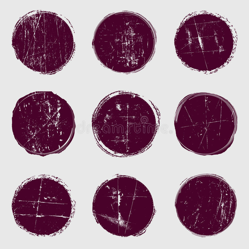 Okrąża wektorowego ustawiającego grunge royalty ilustracja