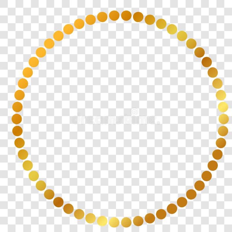 Okrąża Złotą kropki ramę dla świadectwa, plakata, tła i inny, przy przejrzystym skutka tłem ilustracji