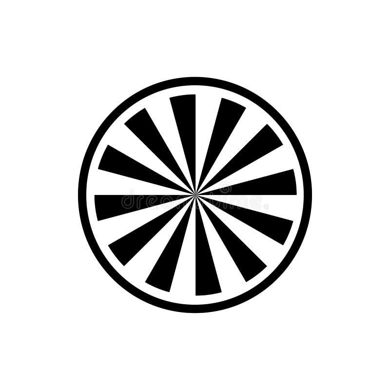Okrąża z promieniową promień ikoną, prosty styl ilustracji