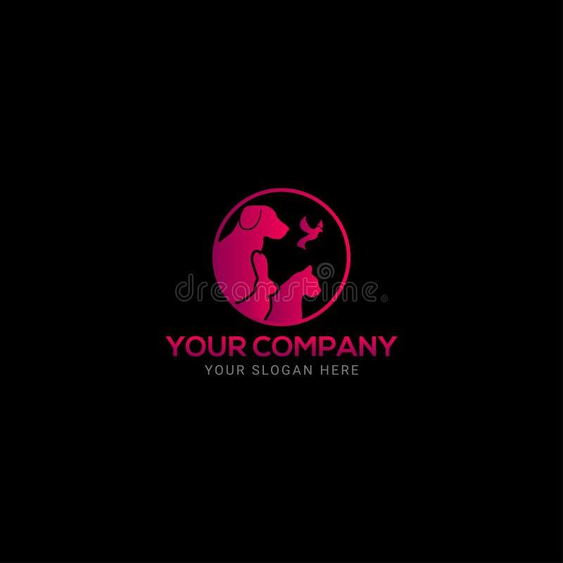 okrągłe, kolorowe logo Pets Design royalty ilustracja
