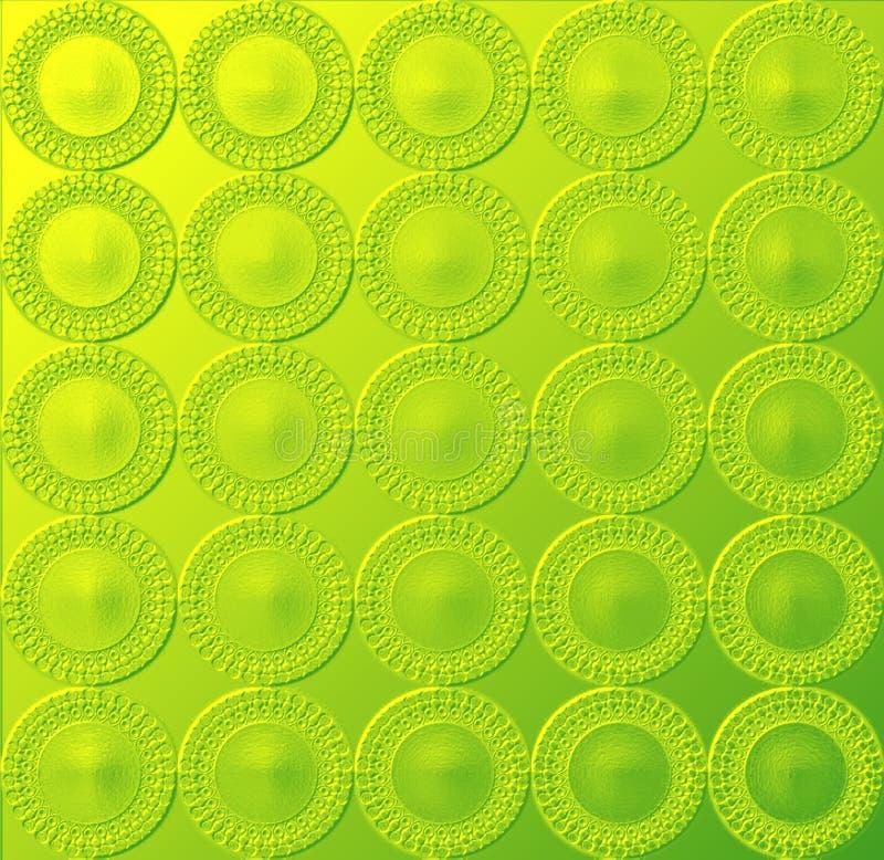 Okrągły świeciło Zielony Wzór żółtawy Obrazy Stock