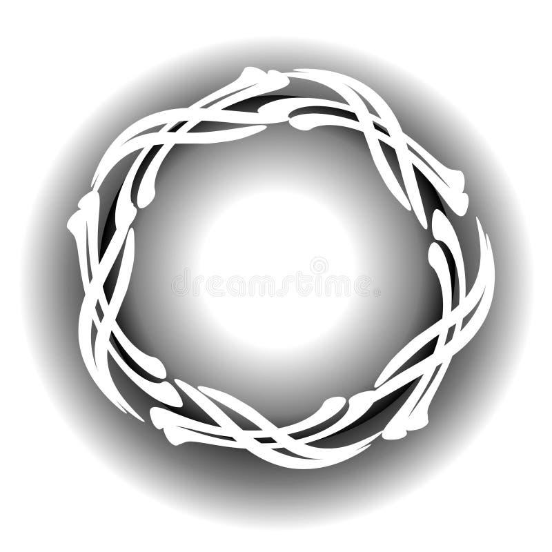 okrągły logo cross sieci white ilustracja wektor