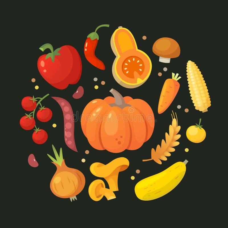 Okrąg czerwoni i żółci warzywa ilustracja wektor