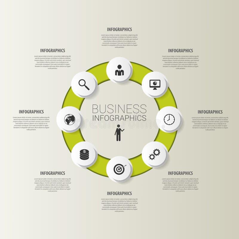 Okrąg dla biznesowych pojęć z ikonami wektor ilustracji