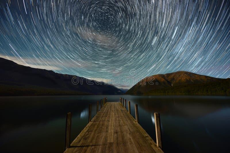 Okrąg gwiazda, Jeziorny Rotoiti obraz stock