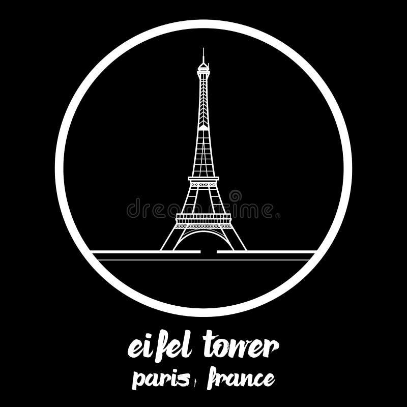 Okrąg ikony eifel wierza Paris France r?wnie? zwr?ci? corel ilustracji wektora royalty ilustracja
