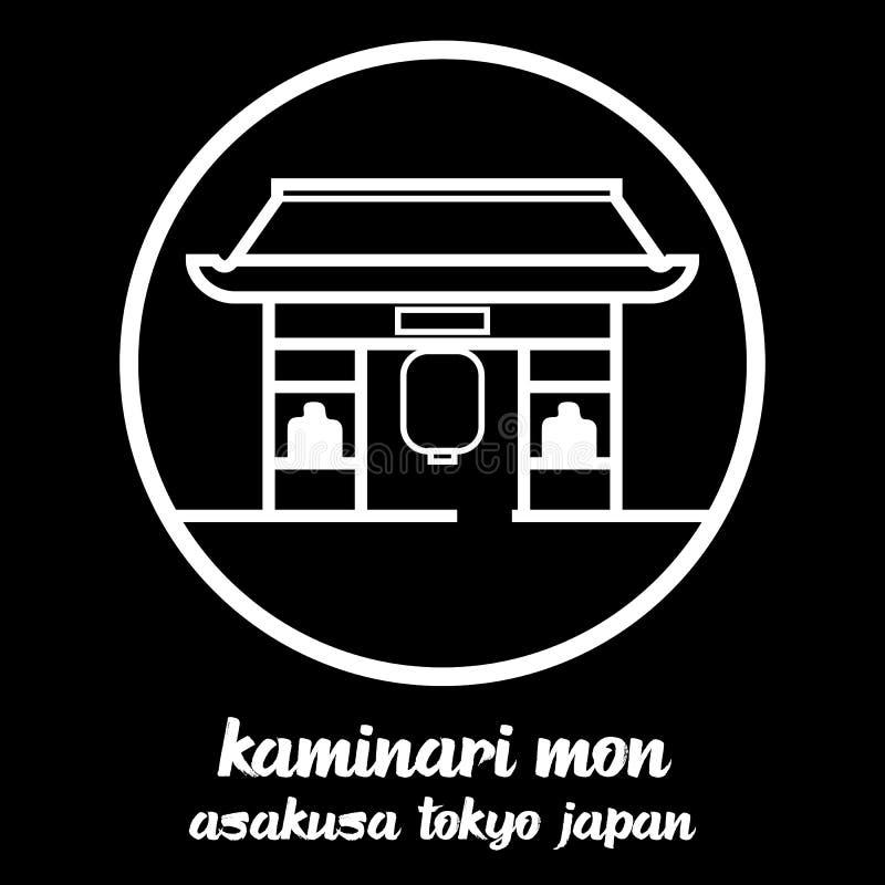 Okrąg ikony linia Kaminari Mon r?wnie? zwr?ci? corel ilustracji wektora ilustracja wektor