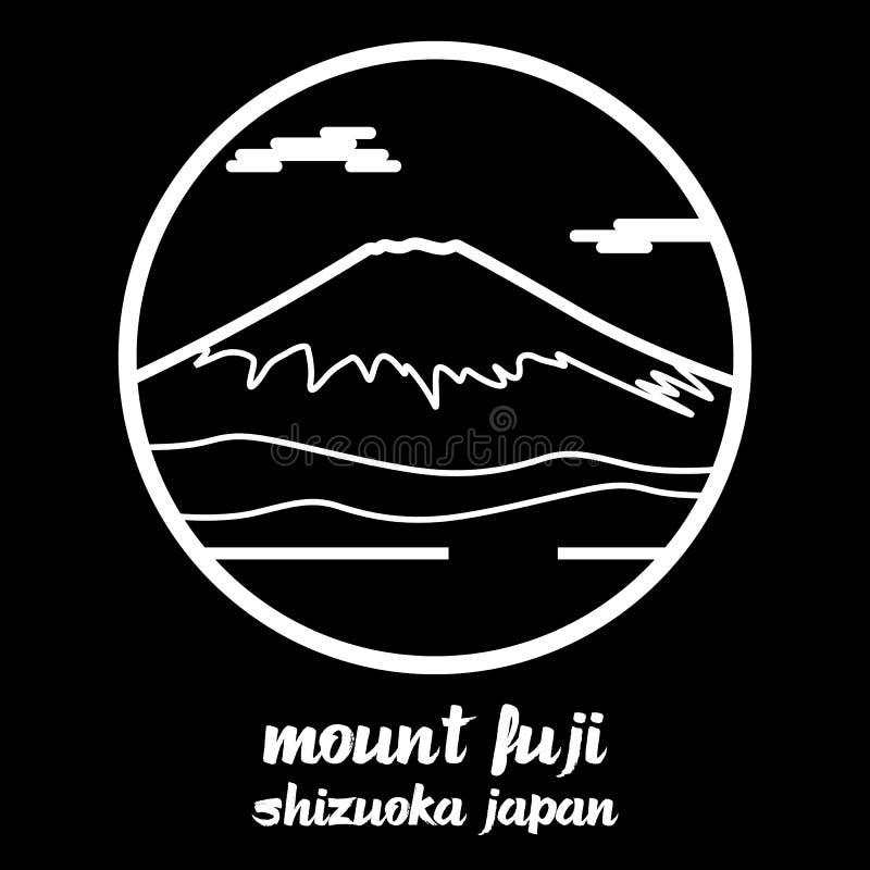 Okrąg ikony linii góra Fuji r?wnie? zwr?ci? corel ilustracji wektora royalty ilustracja