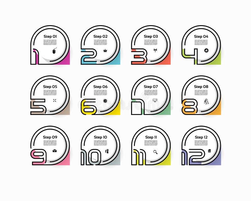 Okrąg infographic numerowe opcje Projekta wektorowy szablon może używać dla obieg układu, diagram, prezentacja, sieć projekt Busi royalty ilustracja