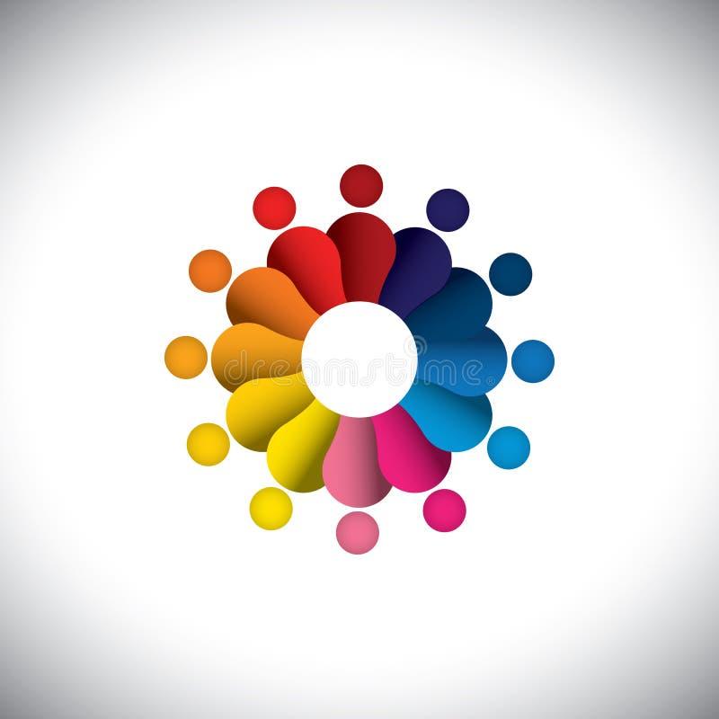 Okrąg kolorowi ludzie bawi się lub dzieci bawić się -  ilustracji