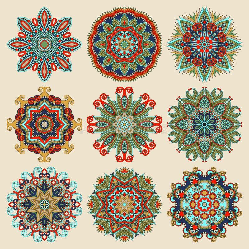 Okrąg koronki ornament, round ornamentacyjny geometryczny ilustracji