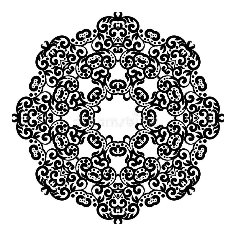 Okrąg koronki ornament, round ornamentacyjny geometryczny doily wzór, czarny i biały odosobniony mandala ilustracji