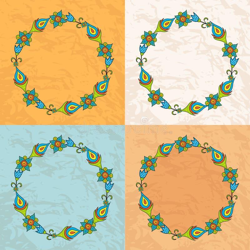 Okrąg kwiaty na tło teksturze papier ilustracji