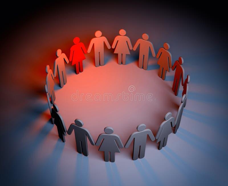 Okrąg ludzie - jeden z czego jest czerwona i pozycjo out ilustracja wektor